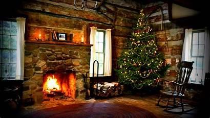Christmas Cabin Log Rustic Cabins Cozy Tree