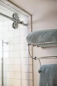 Landscaping Agreement Chrome Towel Bar With Shelf Near Glass Shower Hgtv