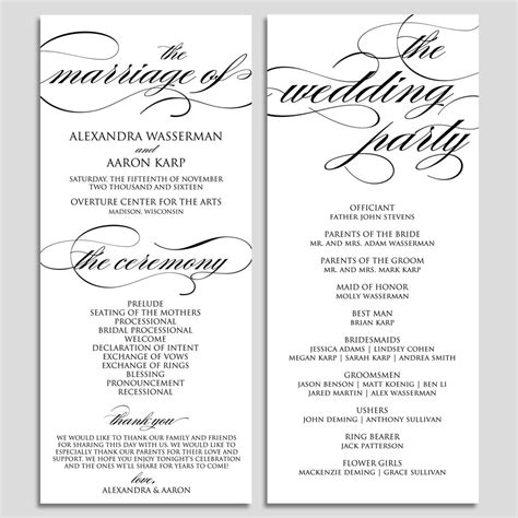 wedding program template wedding program printable ceremony