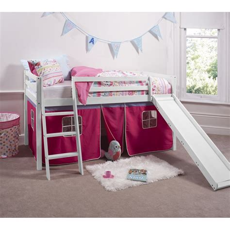 27120 bunk bed with slide pretty pink cabin bed with slide tent noa nani