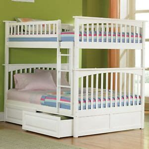girls white bunk bed full  full storage trundle