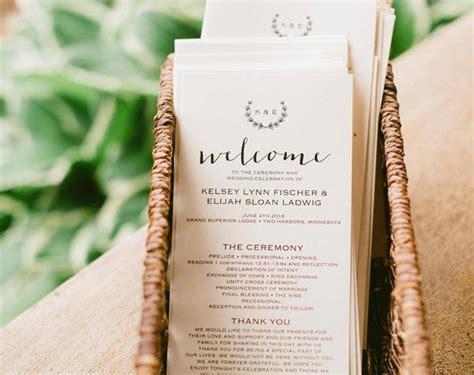 rustic wedding program template wedding program printable