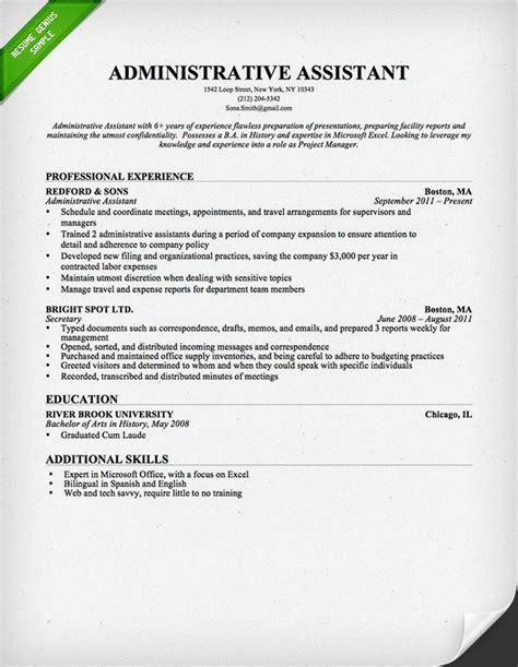 Administrative Resume Template by Administrative Assistant Resume Sle Resume Genius