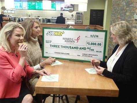 north carolina subway restaurants donate  susan  komen