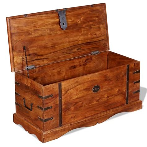 storage chest trunk brown solid wood storage chest trunk box antique style 2549