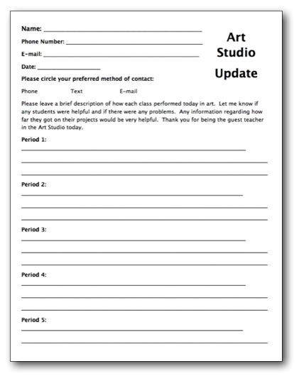 emergency substitute lesson plans template free creating a substitute teacher folder for your art room