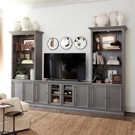 tuscan large gray wood  piece media console