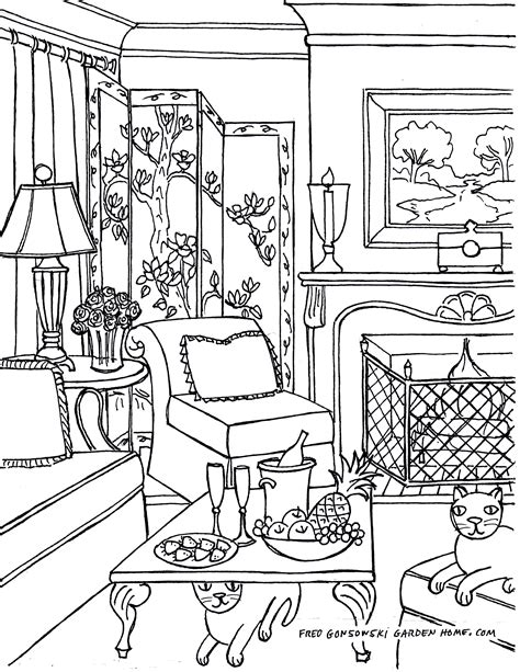 Coloring Living Room by Furniture Living Room Coloring Pages Coloring Pages