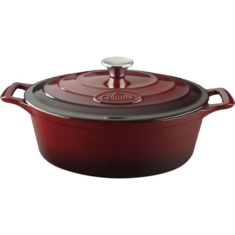 casserole cuisine la cuisine 6 75 qt cast iron oval casserole with ruby