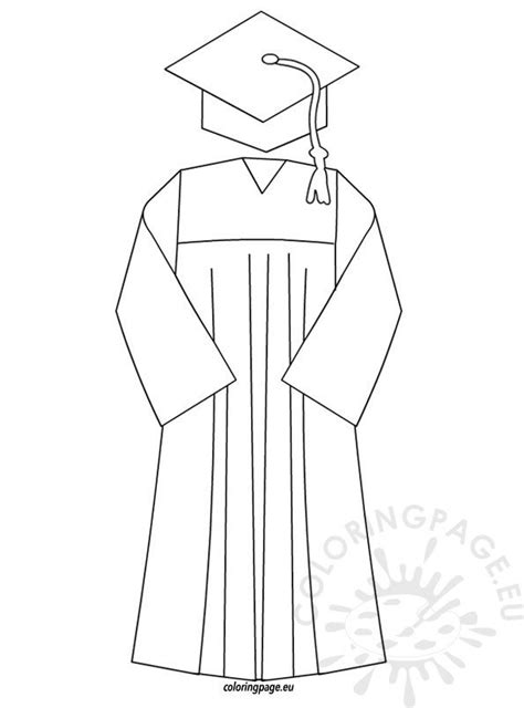 graduation cap  gown template coloring page