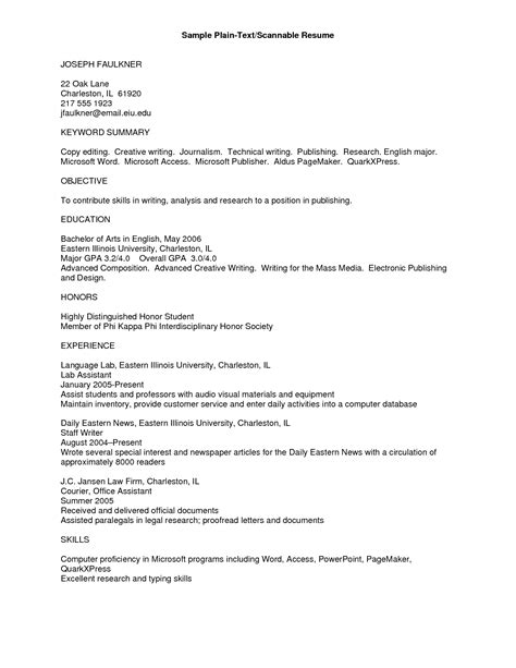 Resume In Plain Text by Plain Text Resume Exle Info Cover Letter For