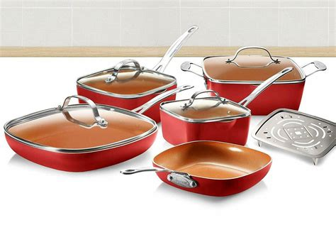 gotham steel square  piece nonstick copper frying pan cookware set red  ebay