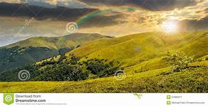 Summer Green Meadow In Mountain Panorama At Sunset Stock ...