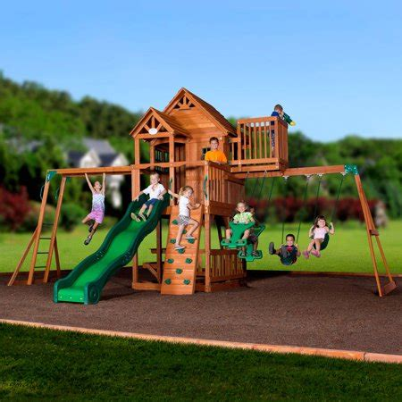 backyard discovery cedar view swing set backyard discovery skyfort ii wooden cedar swing set