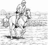 Horse Coloring Pages Horses Colouring Printable Riding Riders Rider Racing Adults Colour Horseback Competition Jumping Adult Equestrian Equestrians Drawings Draw sketch template
