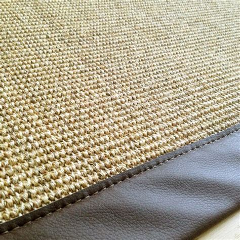 tapis en sisal sur mesure gans 233 couleur naturel gans 233 simili cuir marron