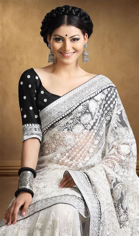black saree blouse a black blouse and white sari combination looks chic and