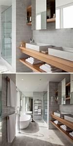 Meuble Salle De Bain Bois Gris : meuble sous lavabo salle de bain dot d tag res ouvertes ~ Edinachiropracticcenter.com Idées de Décoration