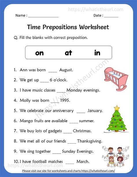 time prepositions worksheets   grade  home teacher