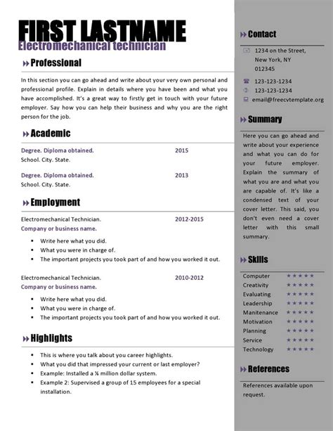 Resume Template Word Free by Resume Template Ms Word Free Cv Template