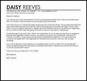 Sample Letter Sick Leave School Leave Letter Leave Letters Livecareer