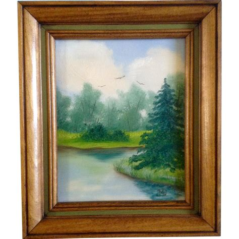Small Oil Painting On Canvas Monogramed By Artist, Birds