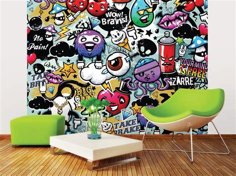 interior designer kitchen funky graffiti doodle monsters wall mural