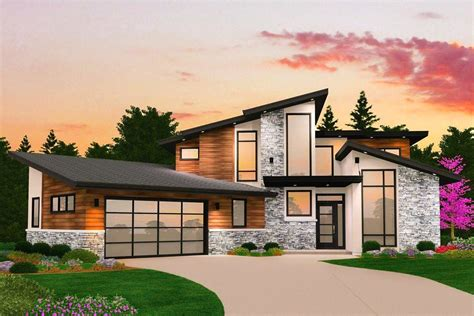 Dynamic 4 Bed Modern House Plan With Vaulted Spaces