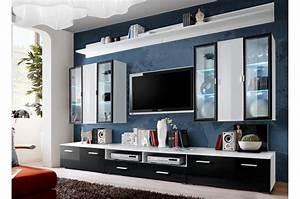 Meuble Tv Led Noir : meuble tv noir vitrine murale blanche led pour salon ~ Teatrodelosmanantiales.com Idées de Décoration