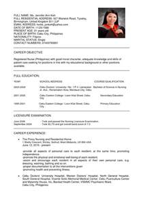 Curriculum Vitae Templates For Nurses by Resume Nurses Sle Sle Resumes