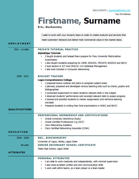 Best Curriculum Vitae Format by Best Way To Write A Curriculum Vitae Cv In Nigeria Sles