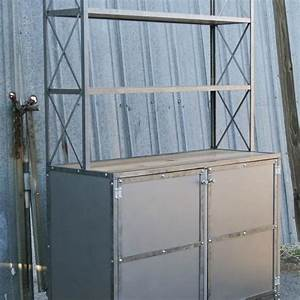 Handmade Vintage Industrial Hutch/Buffet With Shelves