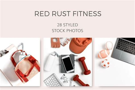 red rust fitness  images business card mock