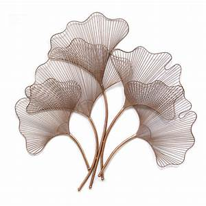Stratton Home Rose Gold Ginkgo Leaf Wall Sculpture - Wall