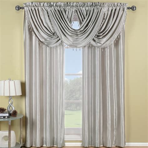 White And Silver Valance by Window Valances Goingdecor