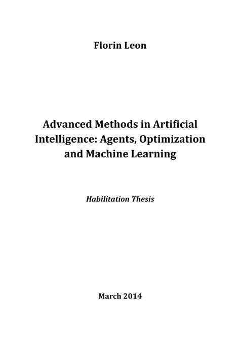 (PDF) Advanced Methods in Artificial Intelligence: Agents