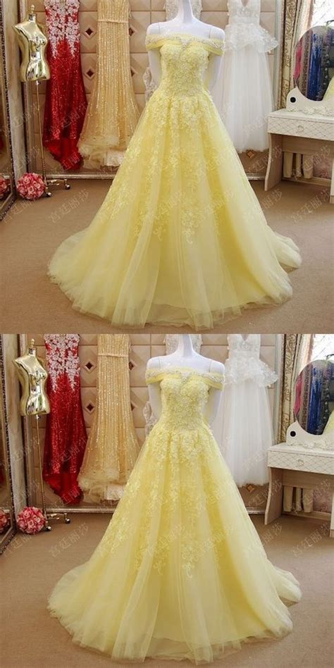elegant prom dressplus size yellow lace   shoulder