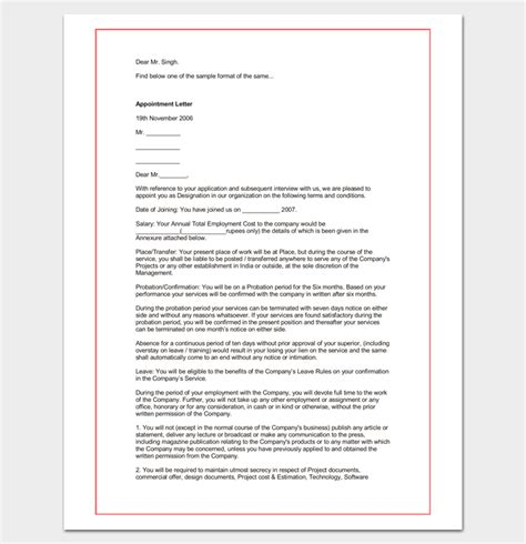 hospital appointment letter template letter templates