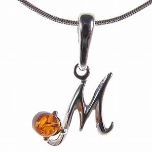 baltic amber sterling silver 925 alphabet letter m pendant With sterling silver letter m pendant