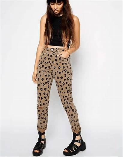 Leopard Jeans Mom Slim Waist Asos Ripped