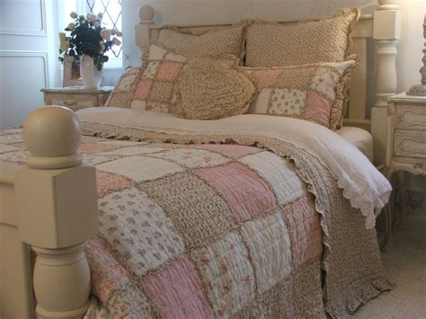 shabby chic king size bedding shabby chic pink floral ruffle king size patchwork quilt 100 cotton ebay