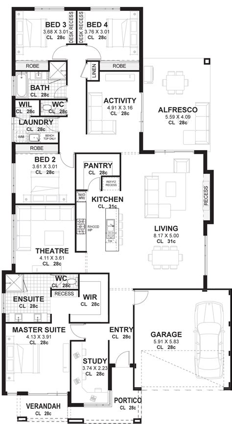 floor plans for 4 bedroom houses 4 bedroom house plans home designs perth vision one homes