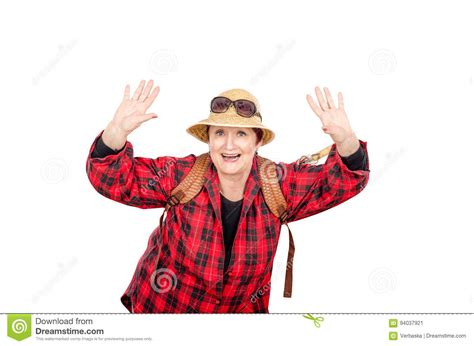 Active Older Woman Having Fun In Studio Stock Image