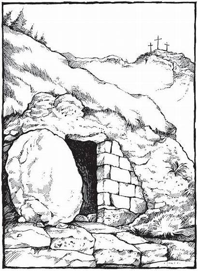Tomb Empty Jesus Drawing Clipart Illustration Easter