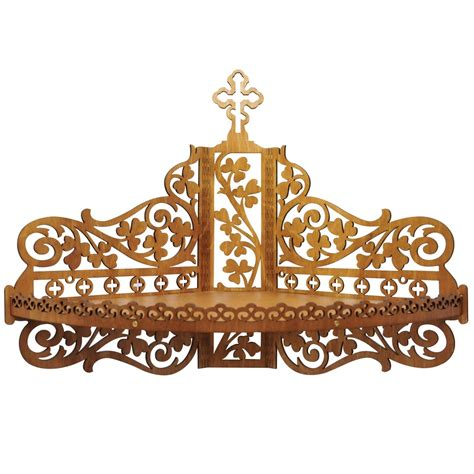 laser cut wooden shelf  icons christian home altar svg file files cnc