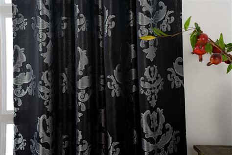 Vorhänge Schwarz Silber vorhang jacquard gardine verdeckte schlaufen barock lurex