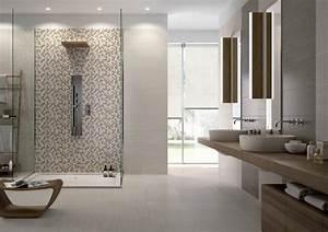 carrelage salle de bains 34 idees avec la belle mosaique With idee carrelage salle de bain moderne