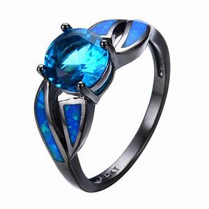 Antique Claw Rings Ocean Blue Fire Opal Stone Aquamarine ...