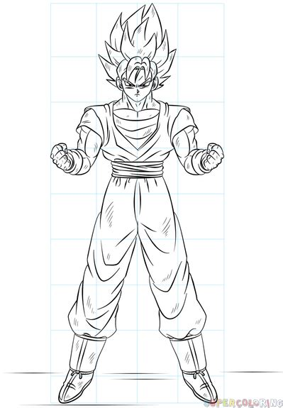draw goku super saiyan step  step drawing tutorials