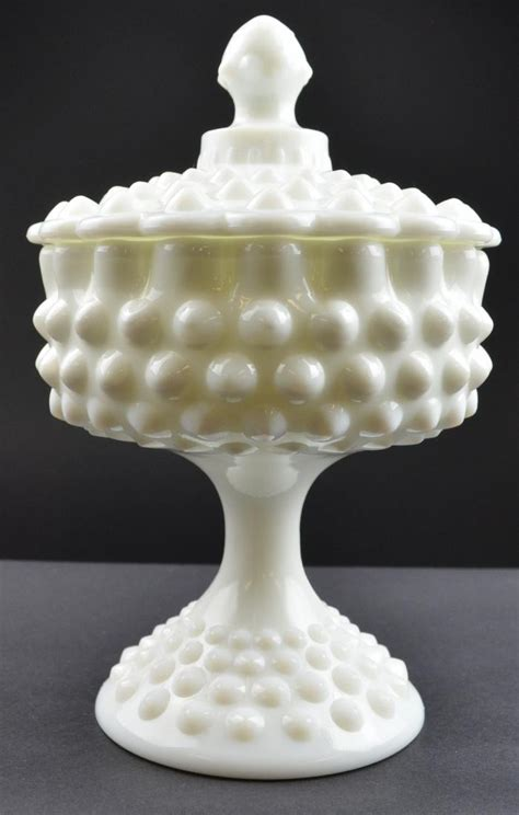fenton milk glass fenton art glass hobnail milk glass pattern lidded